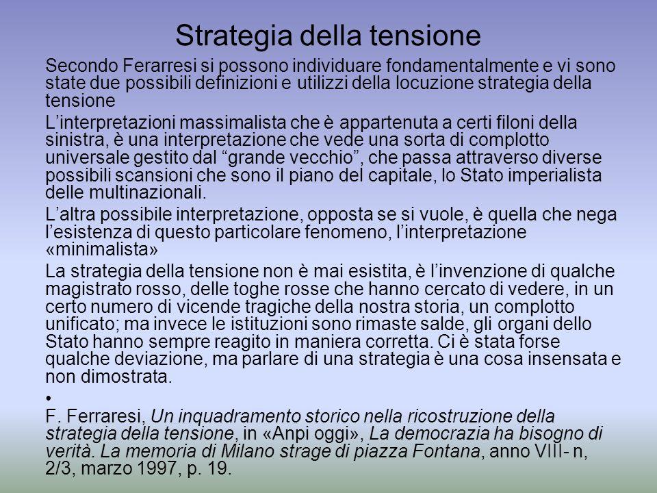 Strategia della tensione Secondo Ferarresi si possono individuare fondamentalmente e vi sono state due possibili definizioni e utilizzi della locuzion