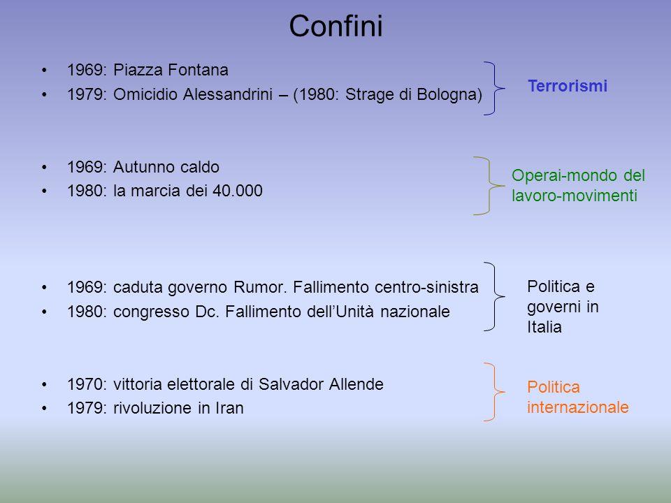 Confini 1969: Piazza Fontana 1979: Omicidio Alessandrini – (1980: Strage di Bologna) 1969: Autunno caldo 1980: la marcia dei 40.000 1969: caduta gover