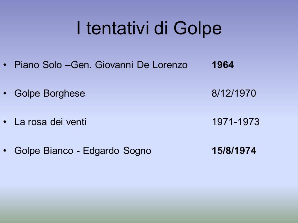 I tentativi di Golpe Piano Solo –Gen. Giovanni De Lorenzo1964 Golpe Borghese 8/12/1970 La rosa dei venti 1971-1973 Golpe Bianco - Edgardo Sogno 15/8/1