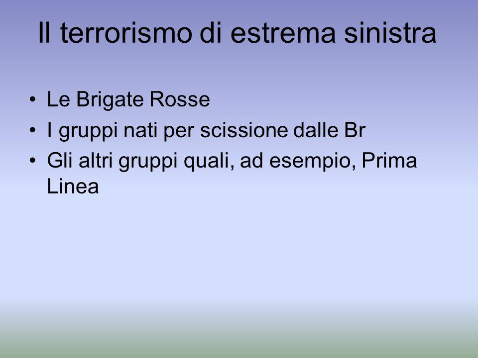 Il terrorismo di estrema sinistra Le Brigate Rosse I gruppi nati per scissione dalle Br Gli altri gruppi quali, ad esempio, Prima Linea