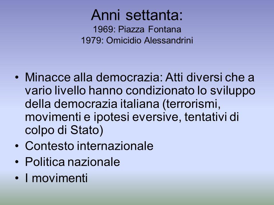 Anni settanta: 1969: Piazza Fontana 1979: Omicidio Alessandrini Minacce alla democrazia: Atti diversi che a vario livello hanno condizionato lo svilup