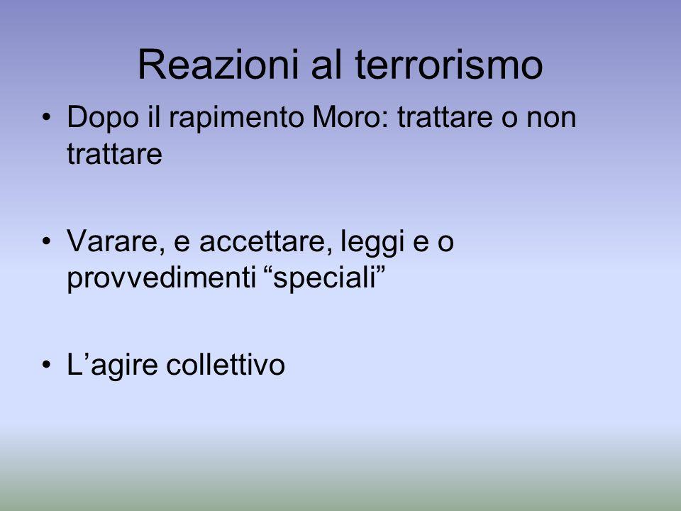 Reazioni al terrorismo Dopo il rapimento Moro: trattare o non trattare Varare, e accettare, leggi e o provvedimenti speciali Lagire collettivo