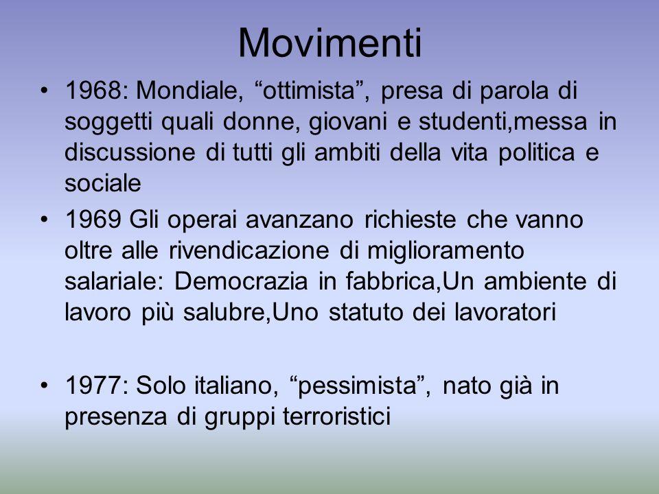 Movimenti 1968: Mondiale, ottimista, presa di parola di soggetti quali donne, giovani e studenti,messa in discussione di tutti gli ambiti della vita p