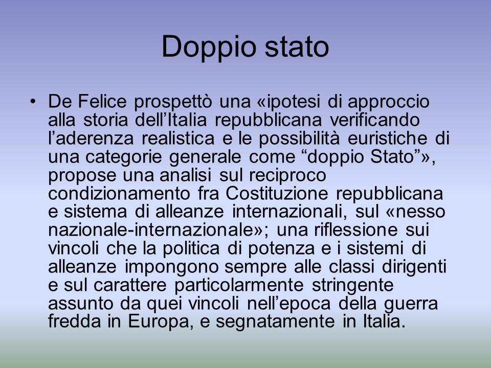 Doppio stato De Felice prospettò una «ipotesi di approccio alla storia dellItalia repubblicana verificando laderenza realistica e le possibilità euris