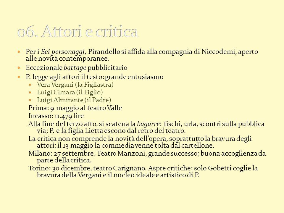 Per i Sei personaggi, Pirandello si affida alla compagnia di Niccodemi, aperto alle novità contemporanee. Eccezionale battage pubblicitario P. legge a