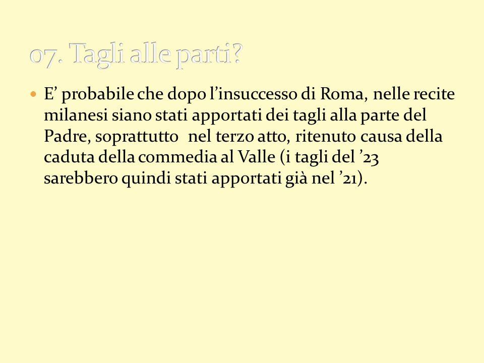 E probabile che dopo linsuccesso di Roma, nelle recite milanesi siano stati apportati dei tagli alla parte del Padre, soprattutto nel terzo atto, rite