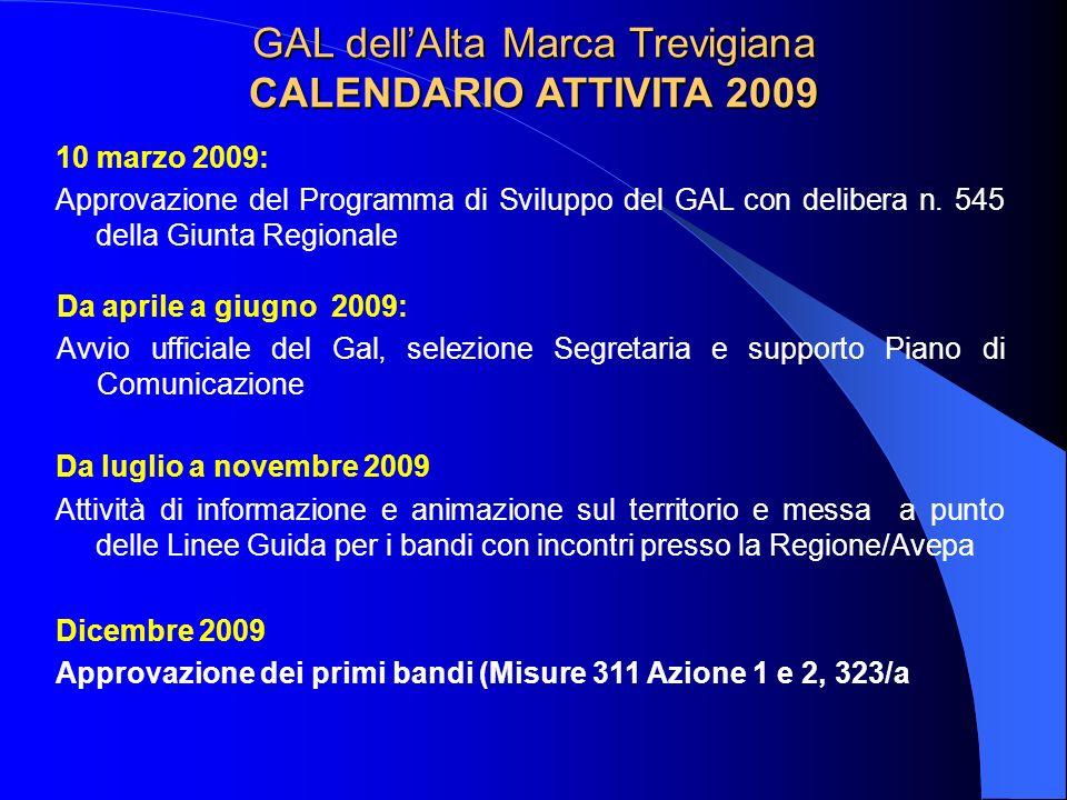 GAL dellAlta Marca Trevigiana CALENDARIO ATTIVITA 2009 10 marzo 2009: Approvazione del Programma di Sviluppo del GAL con delibera n. 545 della Giunta