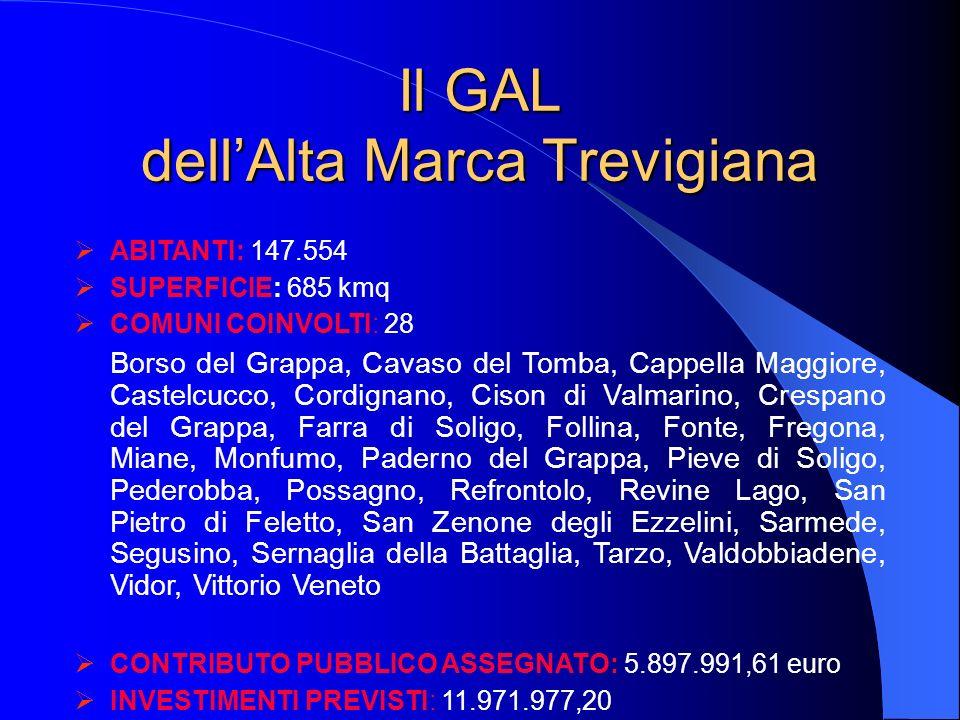 Il GAL dellAlta Marca Trevigiana ABITANTI: 147.554 SUPERFICIE: 685 kmq COMUNI COINVOLTI: 28 Borso del Grappa, Cavaso del Tomba, Cappella Maggiore, Cas