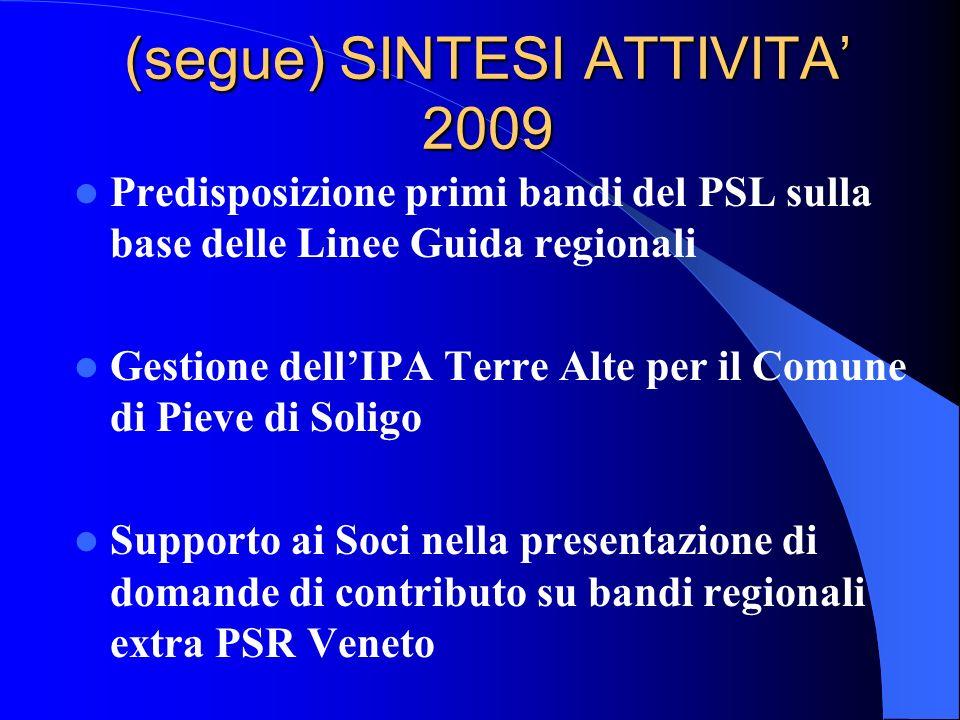 (segue) SINTESI ATTIVITA 2009 Predisposizione primi bandi del PSL sulla base delle Linee Guida regionali Gestione dellIPA Terre Alte per il Comune di