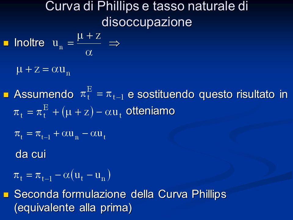 Curva di Phillips e tasso naturale di disoccupazione Cosa evidenzia la seconda formulazione.