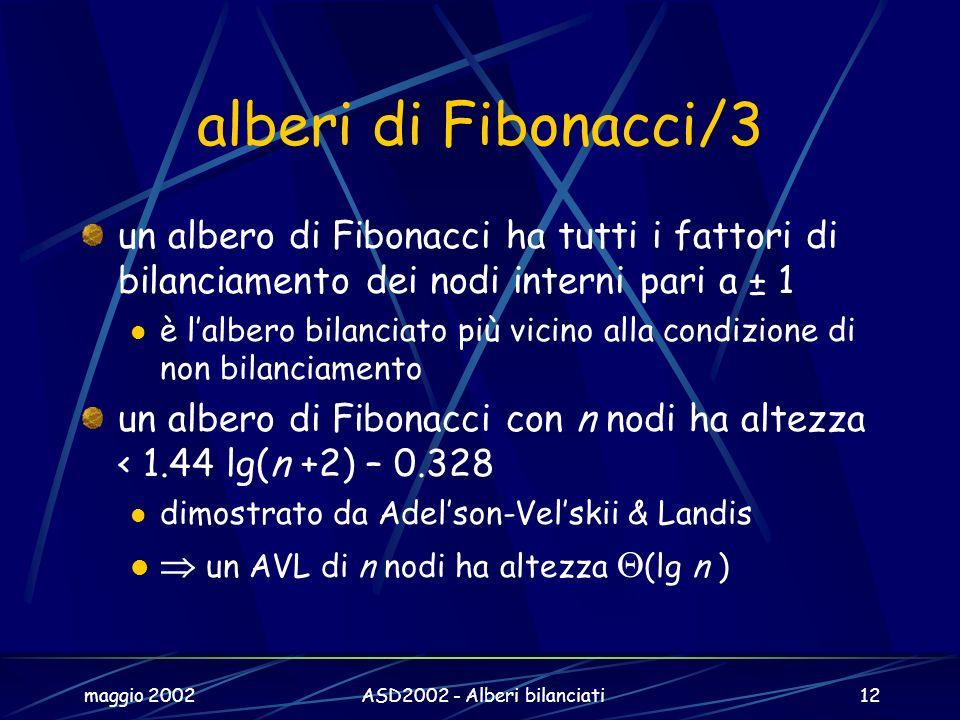 maggio 2002ASD2002 - Alberi bilanciati12 alberi di Fibonacci/3 un albero di Fibonacci ha tutti i fattori di bilanciamento dei nodi interni pari a ± 1