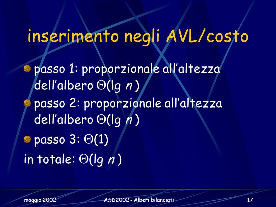 maggio 2002ASD2002 - Alberi bilanciati17 inserimento negli AVL/costo passo 1: proporzionale allaltezza dellalbero (lg n ) passo 2: proporzionale allaltezza dellalbero (lg n ) passo 3: (1) in totale: (lg n )