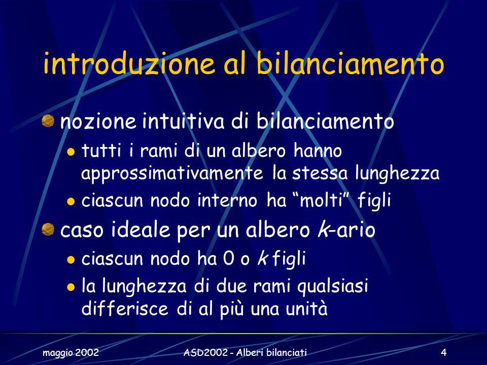 maggio 2002ASD2002 - Alberi bilanciati4 introduzione al bilanciamento nozione intuitiva di bilanciamento tutti i rami di un albero hanno approssimativ