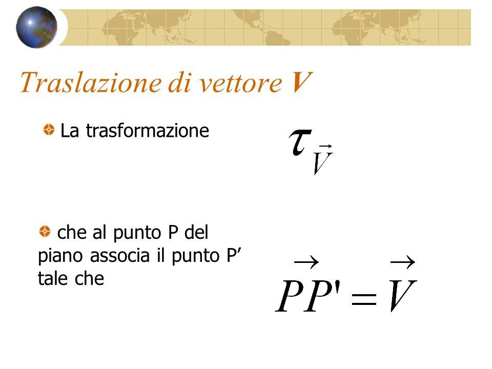 Traslazione di vettore V La trasformazione che al punto P del piano associa il punto P tale che