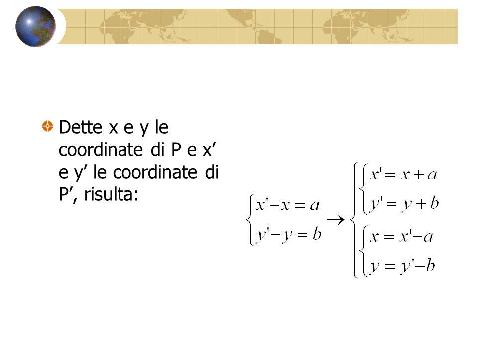 Dette x e y le coordinate di P e x e y le coordinate di P, risulta: