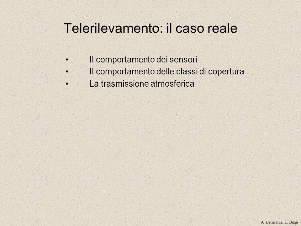 Telerilevamento: il caso reale Il comportamento dei sensori Il comportamento delle classi di copertura La trasmissione atmosferica A. Dermanis, L. Bia