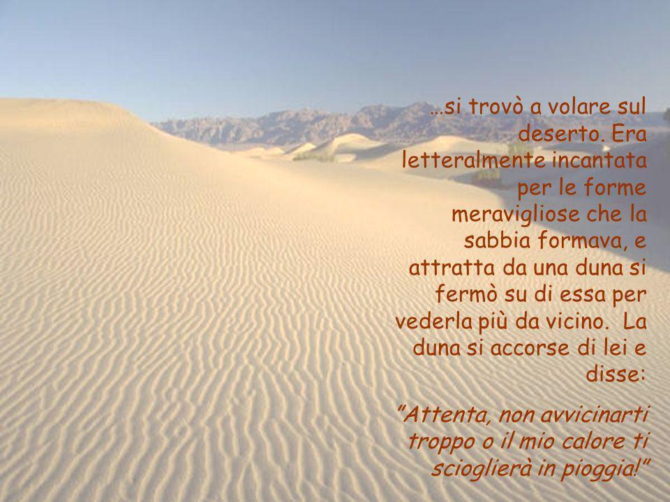 …si trovò a volare sul deserto. Era letteralmente incantata per le forme meravigliose che la sabbia formava, e attratta da una duna si fermò su di ess