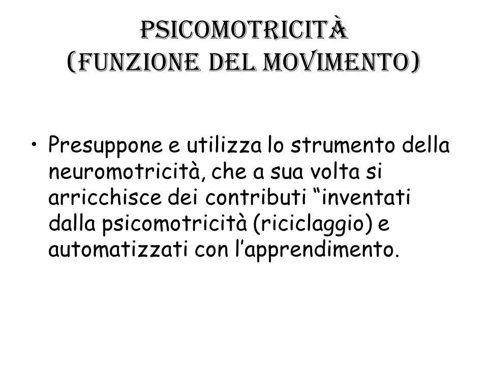 Psicomotricità (funzione del movimento) Presuppone e utilizza lo strumento della neuromotricità, che a sua volta si arricchisce dei contributi inventa