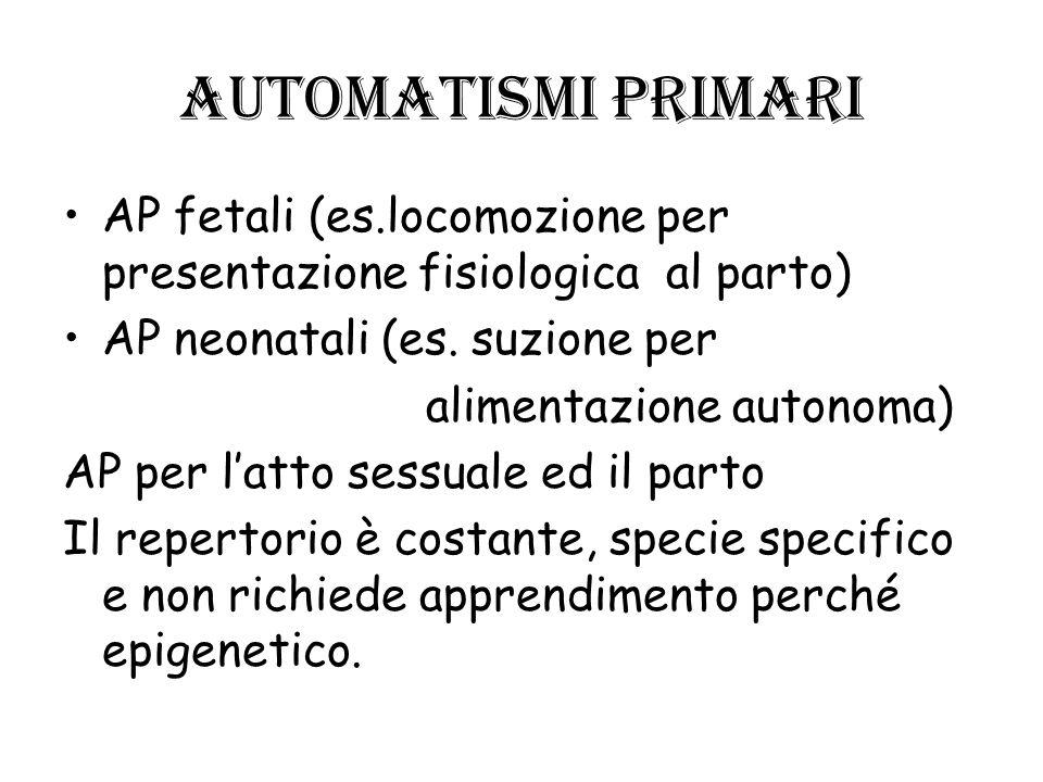 Automatismi primari AP fetali (es.locomozione per presentazione fisiologica al parto) AP neonatali (es. suzione per alimentazione autonoma) AP per lat