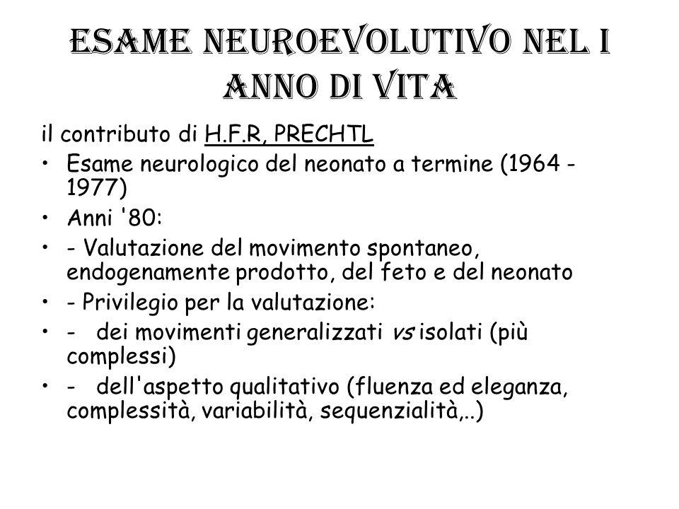 ESAME NEUROEVOLUTIVO NEL I ANNO DI VITA il contributo di H.F.R, PRECHTL Esame neurologico del neonato a termine (1964 - 1977) Anni '80: - Valutazione