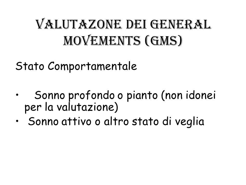 VALUTAZONE dei GENERAL MOVEMENTS (GMs) Stato Comportamentale Sonno profondo o pianto (non idonei per la valutazione) Sonno attivo o altro stato di veg