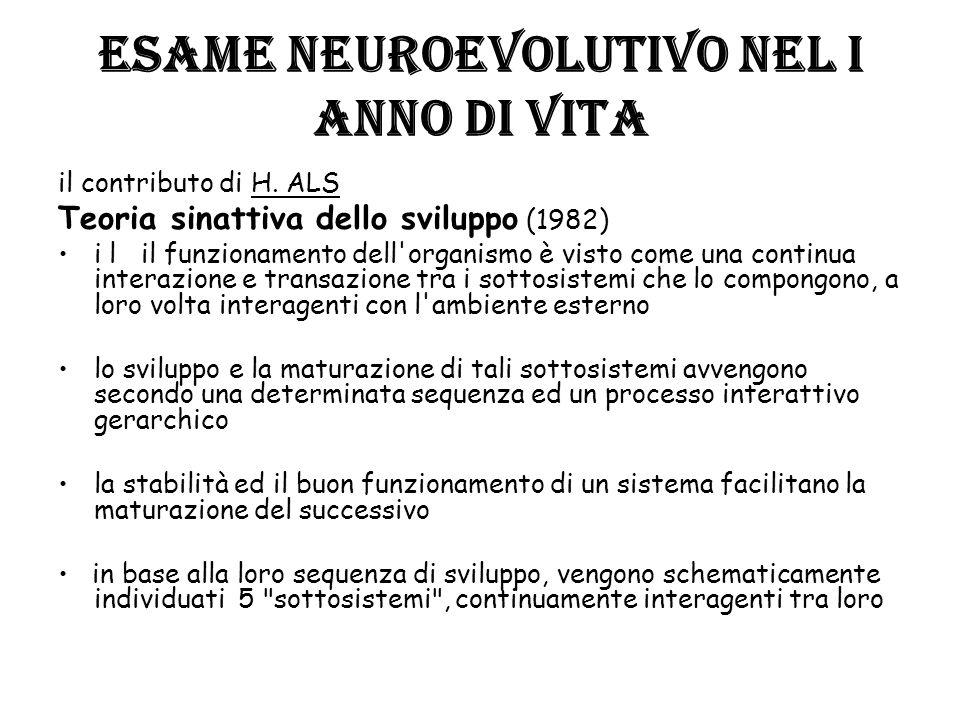 ESAME NEUROEVOLUTIVO NEL I ANNO DI VITA il contributo di H. ALS Teoria sinattiva dello sviluppo (1982) i l il funzionamento dell'organismo è visto com