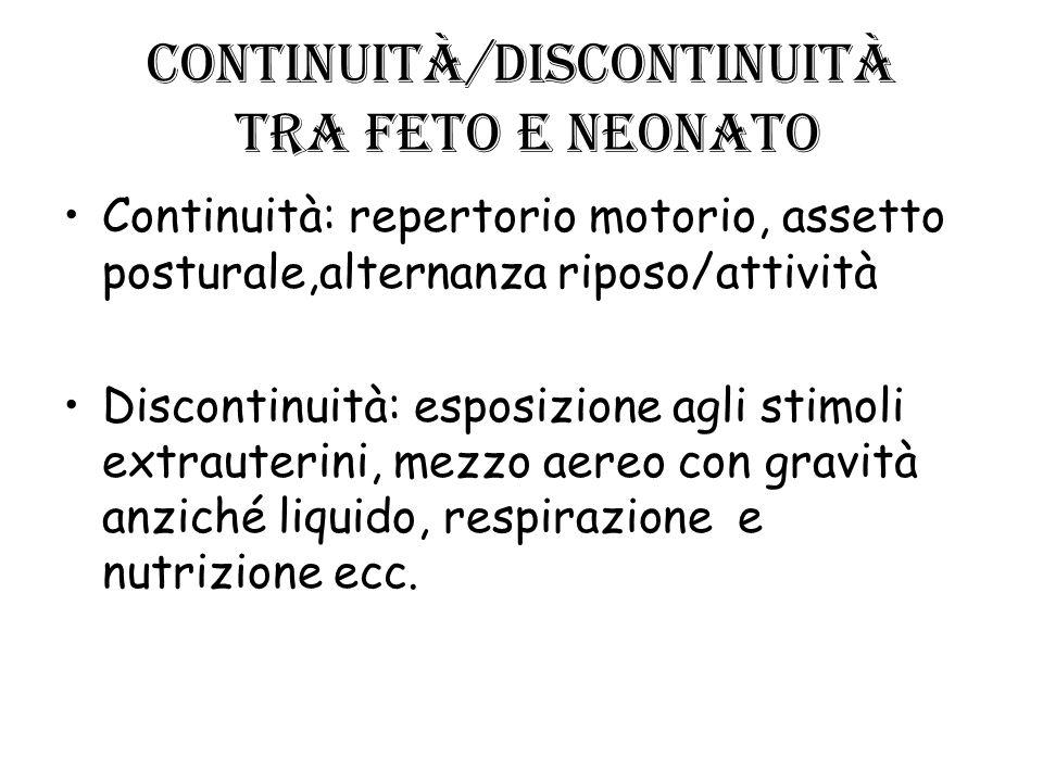 Continuità/discontinuità tra feto e neonato Continuità: repertorio motorio, assetto posturale,alternanza riposo/attività Discontinuità: esposizione ag