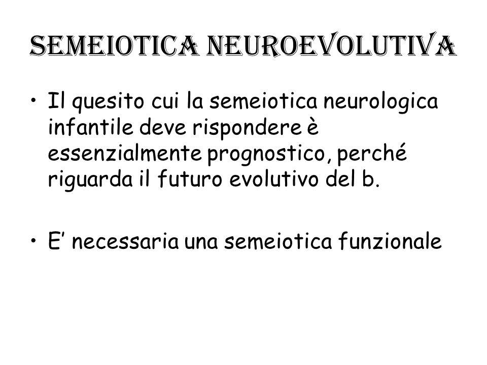Semeiotica neuroevolutiva Il quesito cui la semeiotica neurologica infantile deve rispondere è essenzialmente prognostico, perché riguarda il futuro e