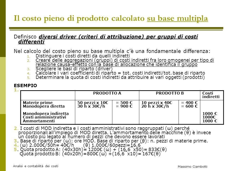 Massimo Ciambotti Analisi e contabilità dei costi Il costo pieno di prodotto calcolato su base multipla Definisco diversi driver (criteri di attribuzione) per gruppi di costi differenti Nel calcolo del costo pieno su base multipla cè una fondamentale differenza: 1.