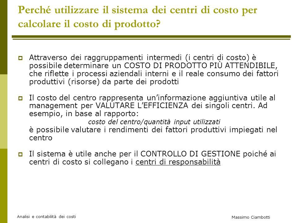 Massimo Ciambotti Analisi e contabilità dei costi Perché utilizzare il sistema dei centri di costo per calcolare il costo di prodotto.