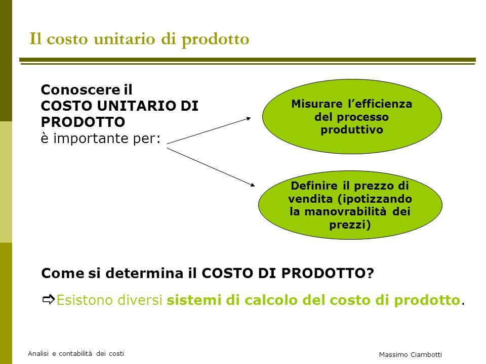 Massimo Ciambotti Analisi e contabilità dei costi I sistemi di calcolo del costo di prodotto SISTEMA DI CALCOLO A COSTI VARIABILI (DIRECT COSTING) Si basa su distinzione tra costi fissi e variabili.