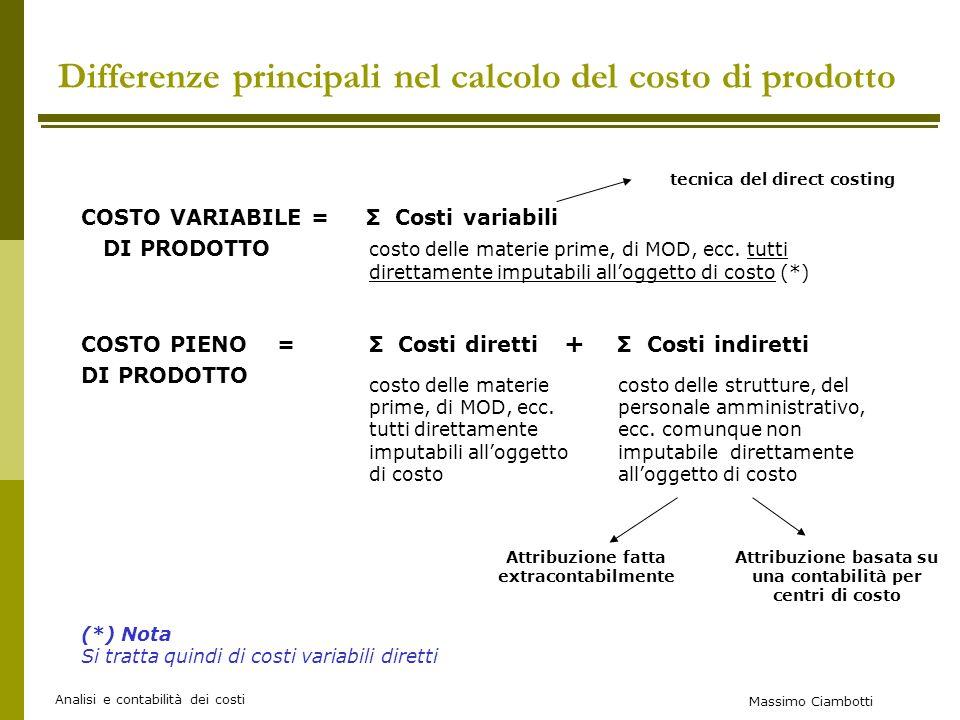 Massimo Ciambotti Analisi e contabilità dei costi Differenze principali nel calcolo del costo di prodotto COSTO VARIABILE = Σ Costi variabili DI PRODOTTO costo delle materie prime, di MOD, ecc.