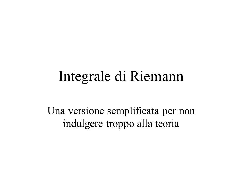 Integrale di Riemann Una versione semplificata per non indulgere troppo alla teoria