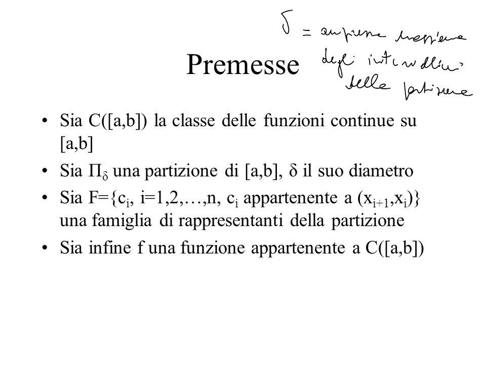 Premesse Sia C([a,b]) la classe delle funzioni continue su [a,b] Sia П δ una partizione di [a,b], δ il suo diametro Sia F={c i, i=1,2,…,n, c i apparte