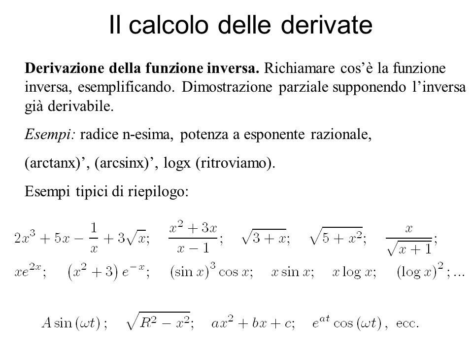 Il calcolo delle derivate Derivazione della funzione inversa. Richiamare cosè la funzione inversa, esemplificando. Dimostrazione parziale supponendo l