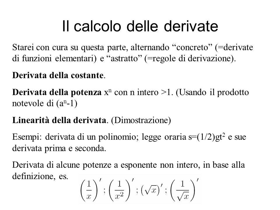 Il calcolo delle derivate Derivata e cambiamento di scala: f(ax+b).