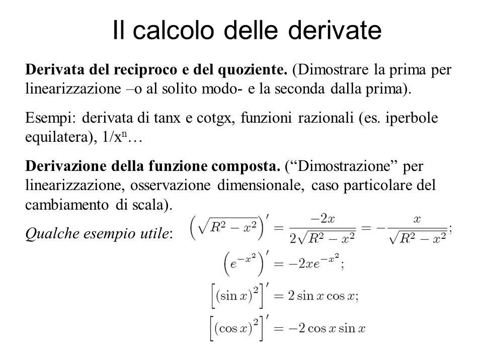 Il calcolo delle derivate Derivata del reciproco e del quoziente. (Dimostrare la prima per linearizzazione –o al solito modo- e la seconda dalla prima