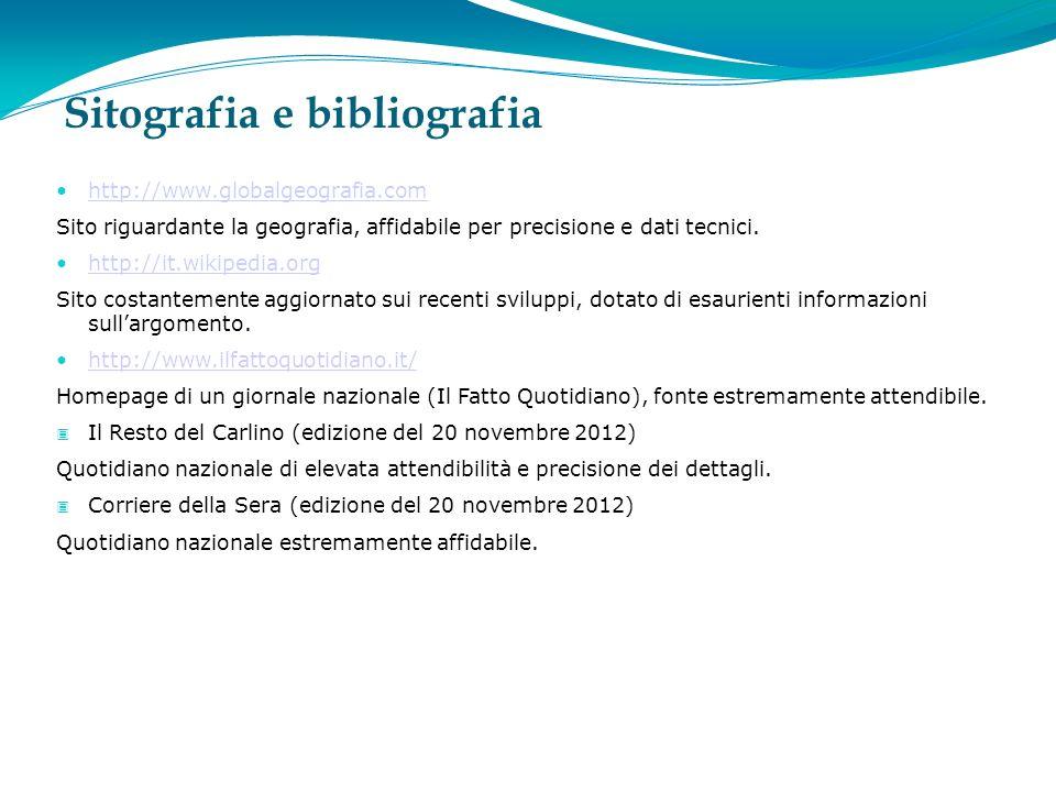 Sitografia e bibliografia http://www.globalgeografia.com Sito riguardante la geografia, affidabile per precisione e dati tecnici.