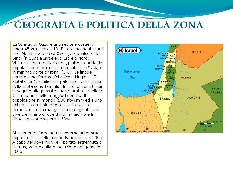 GEOGRAFIA E POLITICA DELLA ZONA La Striscia di Gaza è una regione costiera lunga 45 km e larga 10.