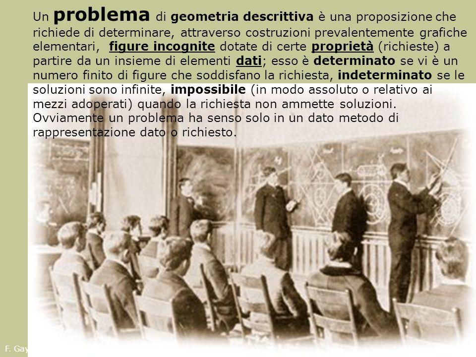 Un problema di geometria descrittiva è una proposizione che richiede di determinare, attraverso costruzioni prevalentemente grafiche elementari, figur