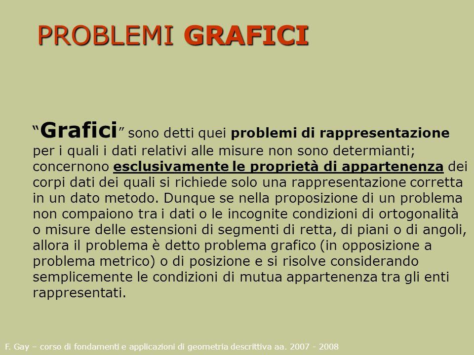 F. Gay – corso di fondamenti e applicazioni di geometria descrittiva aa. 2007 - 2008 PROBLEMI GRAFICI Grafici sono detti quei problemi di rappresentaz