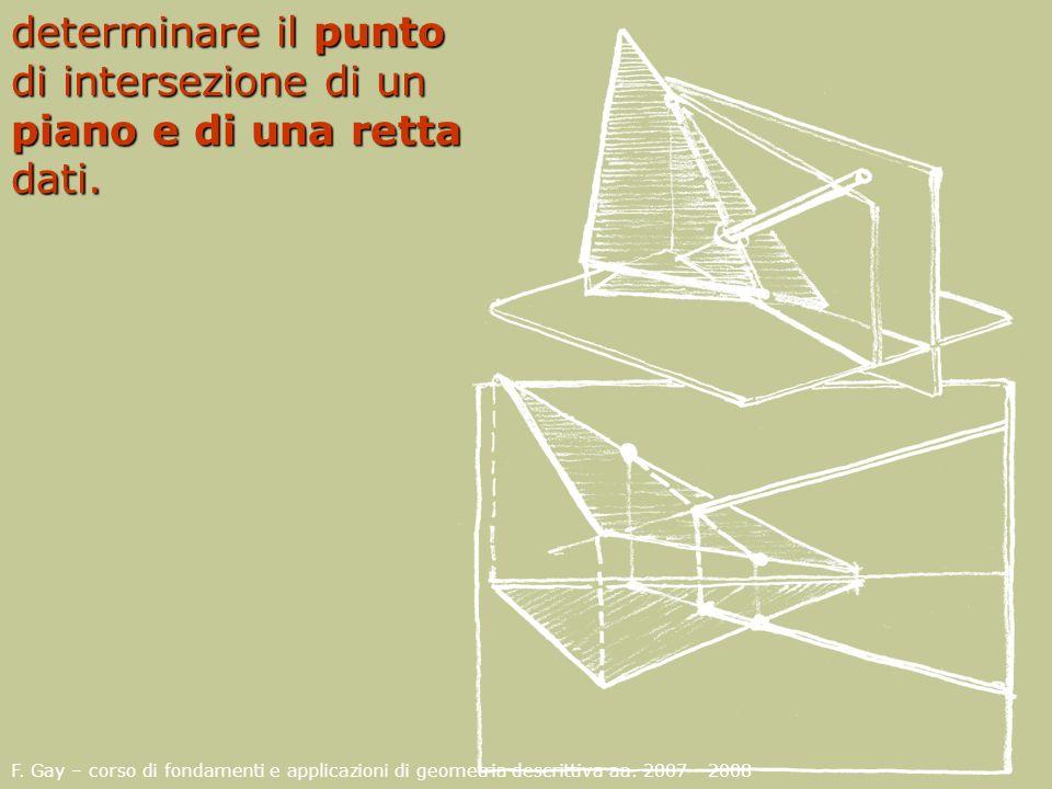 F. Gay – corso di fondamenti e applicazioni di geometria descrittiva aa. 2007 - 2008 determinare il punto di intersezione di un piano e di una retta d