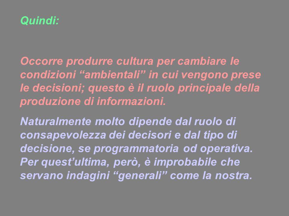 Quindi: Occorre produrre cultura per cambiare le condizioni ambientali in cui vengono prese le decisioni; questo è il ruolo principale della produzion