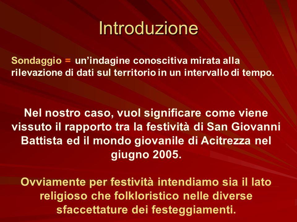 Sondaggio San Giovanni Battista ed i giovani di Acitrezza Antonio Castorina e Mario Grasso