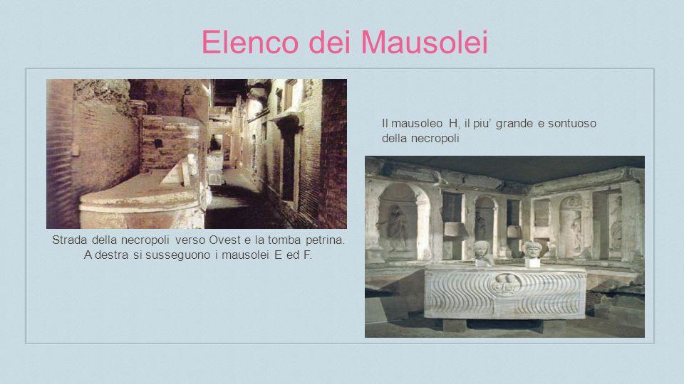 Elenco dei Mausolei Strada della necropoli verso Ovest e la tomba petrina.