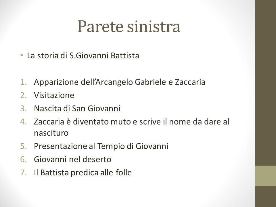 Parete sinistra La storia di S.Giovanni Battista 1.Apparizione dellArcangelo Gabriele e Zaccaria 2.Visitazione 3.Nascita di San Giovanni 4.Zaccaria è