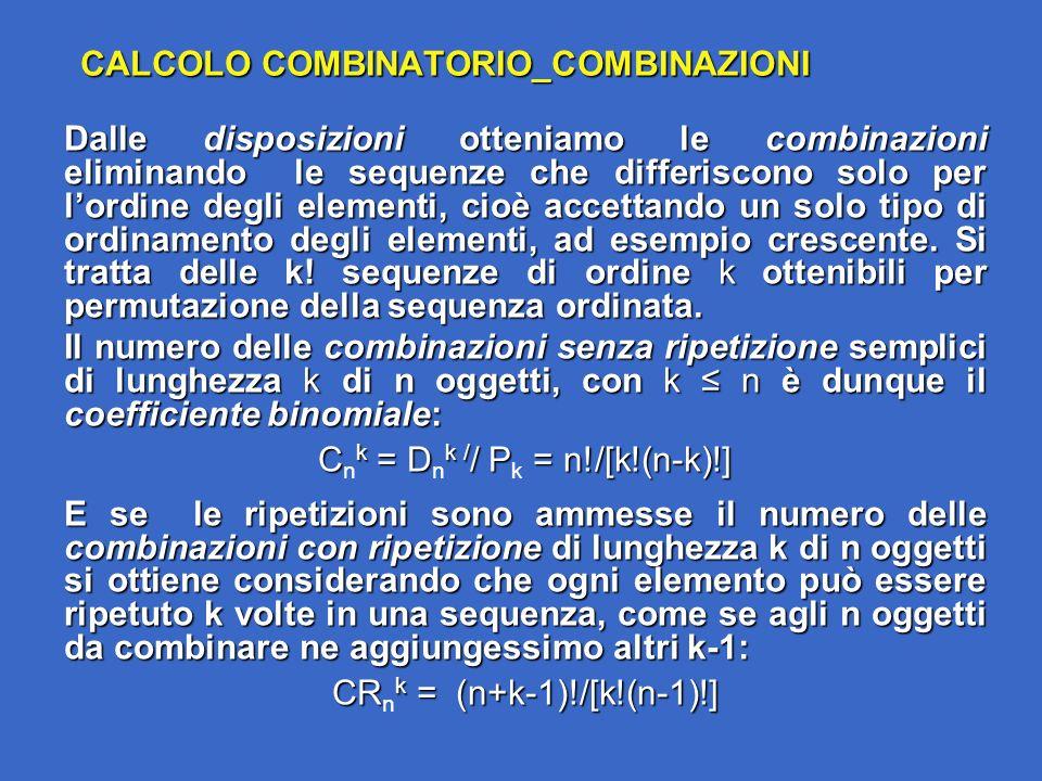 CALCOLO COMBINATORIO_COMBINAZIONI Dalle disposizioni otteniamo le combinazioni eliminando le sequenze che differiscono solo per lordine degli elementi, cioè accettando un solo tipo di ordinamento degli elementi, ad esempio crescente.