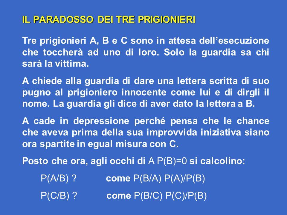 IL PARADOSSO DEI TRE PRIGIONIERI Tre prigionieri A, B e C sono in attesa dellesecuzione che toccherà ad uno di loro.