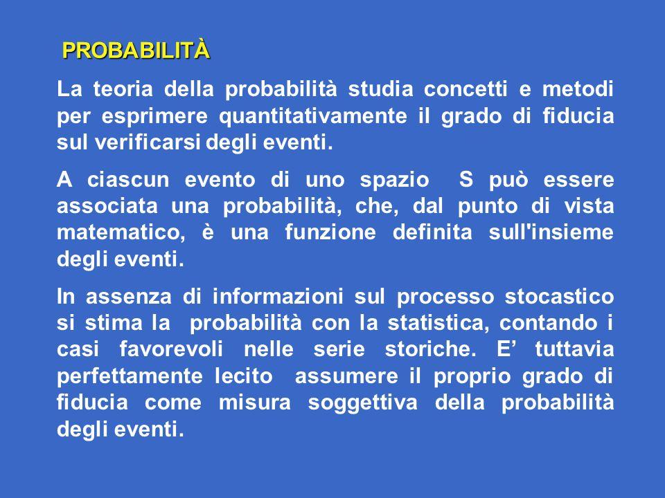 La teoria della probabilità studia concetti e metodi per esprimere quantitativamente il grado di fiducia sul verificarsi degli eventi.