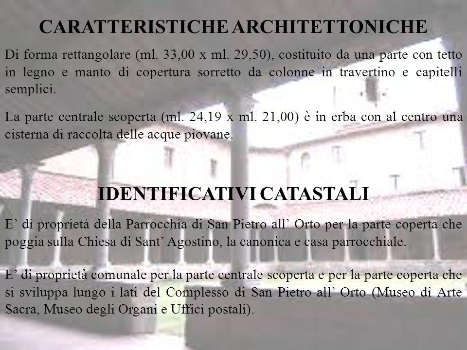 IDENTIFICATIVI CATASTALI Di forma rettangolare (ml.